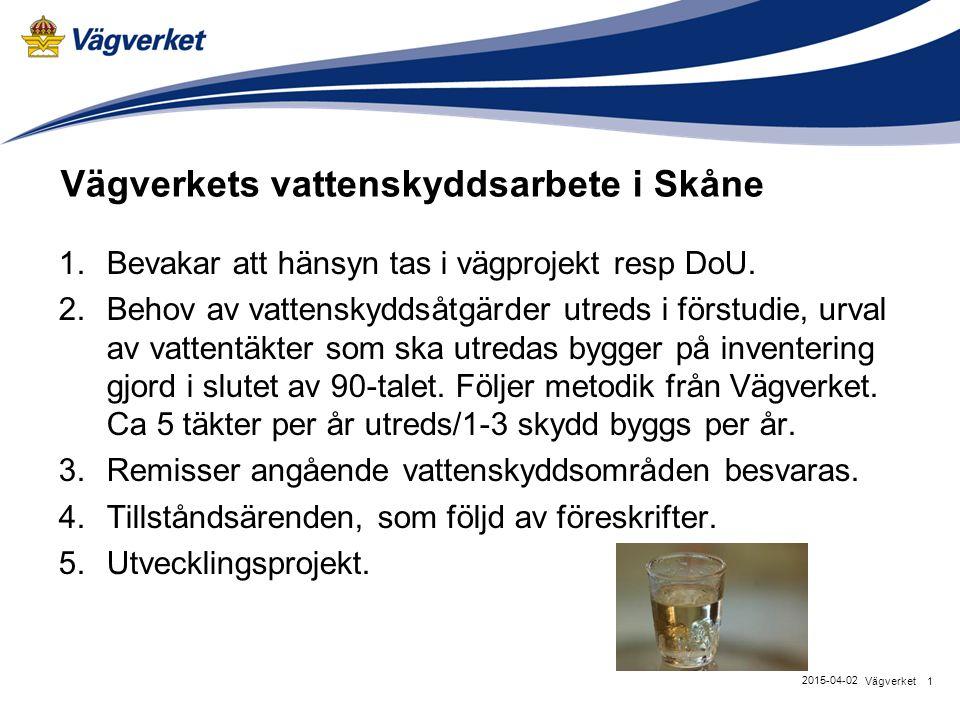 Vägverkets vattenskyddsarbete i Skåne 1.Bevakar att hänsyn tas i vägprojekt resp DoU. 2.Behov av vattenskyddsåtgärder utreds i förstudie, urval av vat