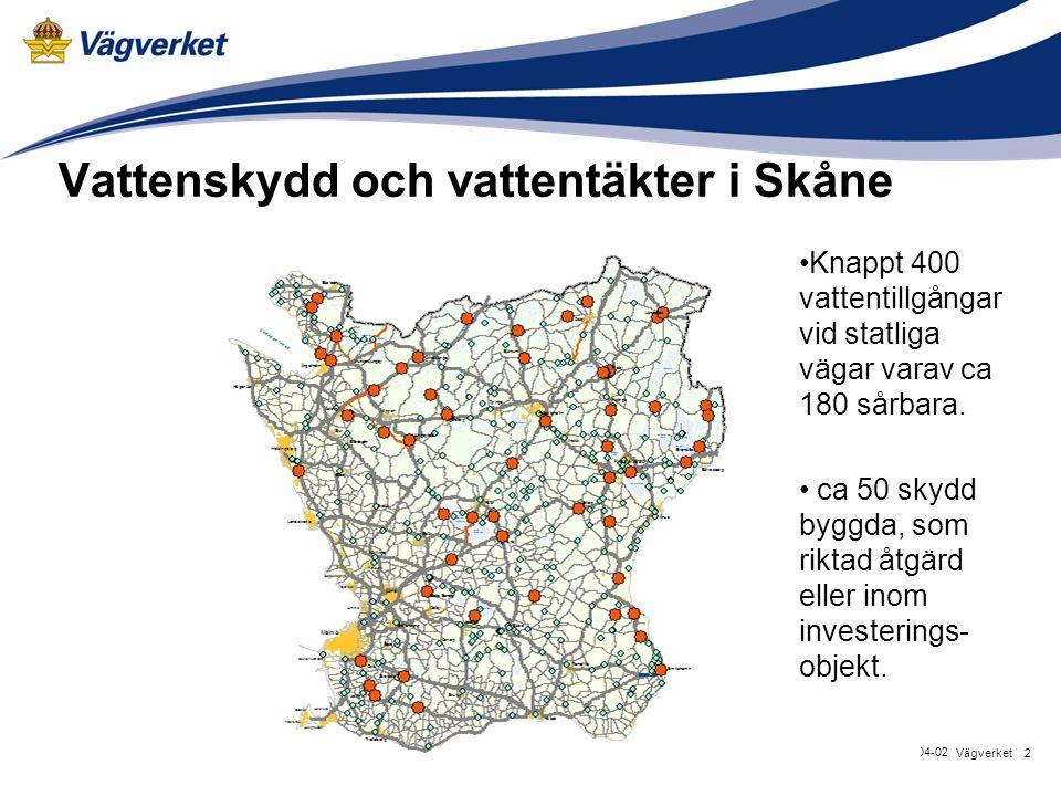 Vattenskydd och vattentäkter i Skåne 2Vägverket 2015-04-02 Knappt 400 vattentillgångar vid statliga vägar varav ca 180 sårbara. ca 50 skydd byggda, so