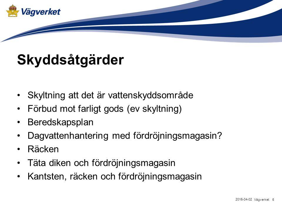 Skyddsåtgärder Skyltning att det är vattenskyddsområde Förbud mot farligt gods (ev skyltning) Beredskapsplan Dagvattenhantering med fördröjningsmagasi