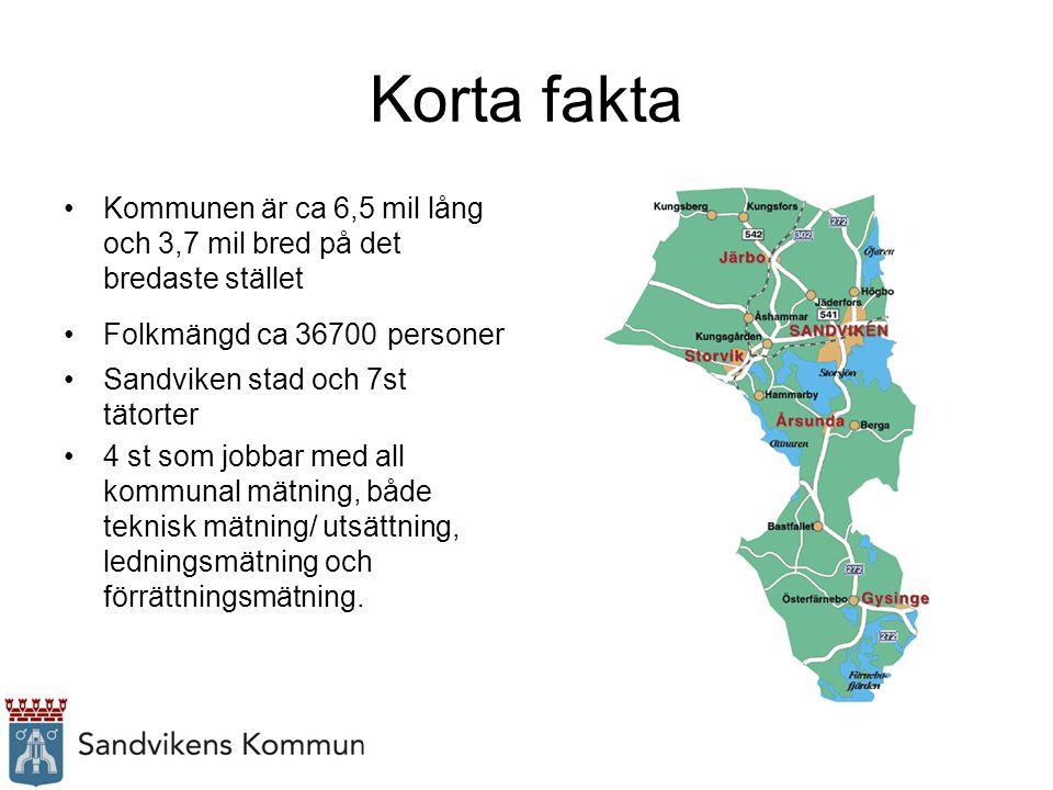 Korta fakta Kommunen är ca 6,5 mil lång och 3,7 mil bred på det bredaste stället Folkmängd ca 36700 personer Sandviken stad och 7st tätorter 4 st som