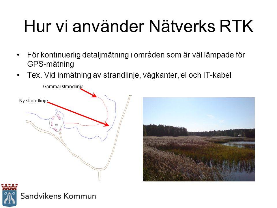 Hur vi använder Nätverks RTK Grovutsättning av hus För att snabbt hitta polygonpunkter (speciellt vintertid) Vid utvisning av befintliga gränser Utsättning av ledning åt energiverket