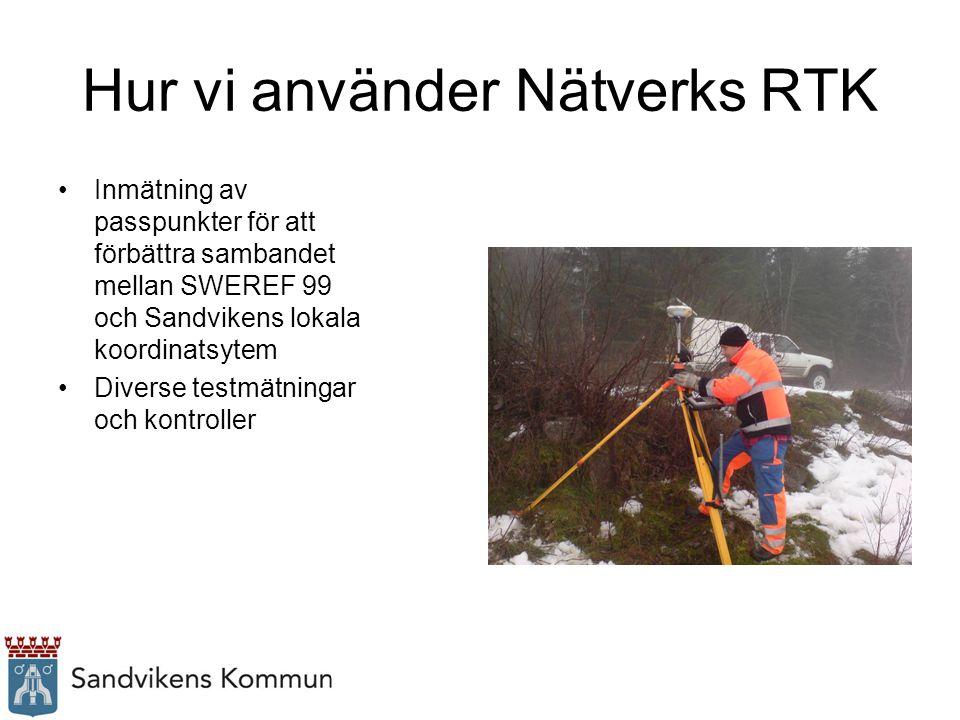 Hur vi använder Nätverks RTK Inmätning av passpunkter för att förbättra sambandet mellan SWEREF 99 och Sandvikens lokala koordinatsytem Diverse testmä