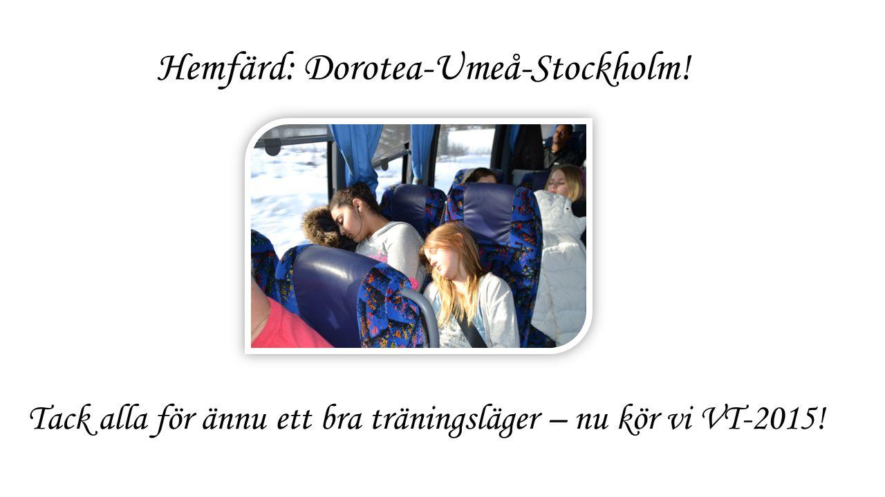 Hemfärd: Dorotea-Umeå-Stockholm! Tack alla för ännu ett bra träningsläger – nu kör vi VT-2015!