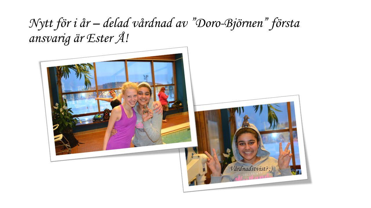 Nytt för i år – delad vårdnad av Doro-Björnen första ansvarig är Ester Å! Vårdnadstvist ;)