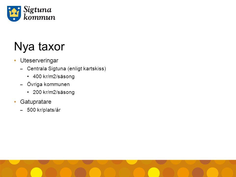 Nya taxor Uteserveringar – Centrala Sigtuna (enligt kartskiss) 400 kr/m2/säsong – Övriga kommunen 200 kr/m2/säsong Gatupratare – 500 kr/plats/år