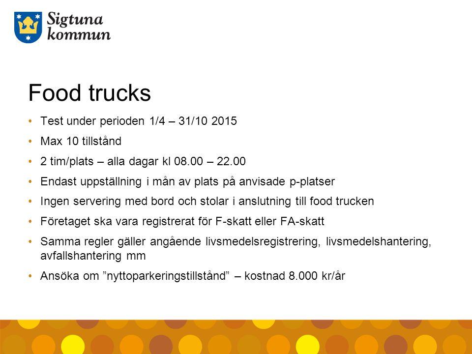 Food trucks Test under perioden 1/4 – 31/10 2015 Max 10 tillstånd 2 tim/plats – alla dagar kl 08.00 – 22.00 Endast uppställning i mån av plats på anvi