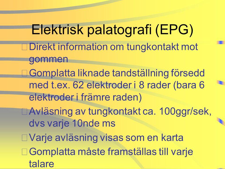 Elektrisk palatografi (EPG) •Direkt information om tungkontakt mot gommen •Gomplatta liknade tandställning försedd med t.ex. 62 elektroder i 8 rader (