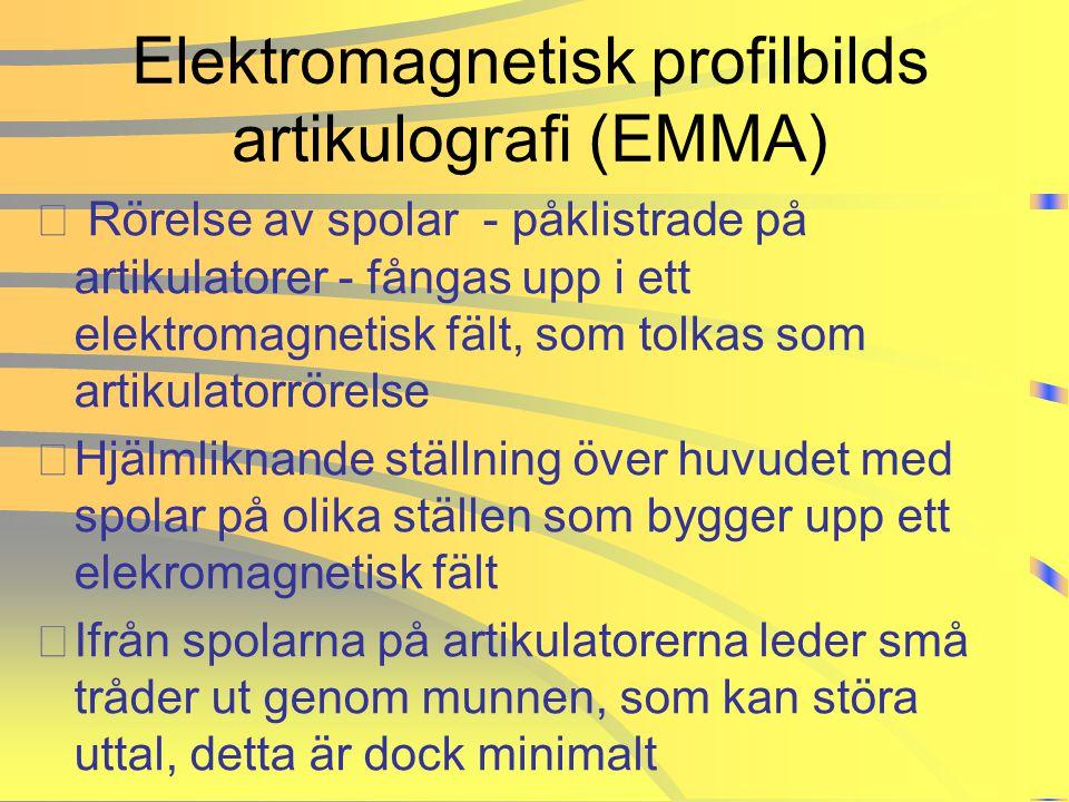 Elektromagnetisk profilbilds artikulografi (EMMA) • Rörelse av spolar - påklistrade på artikulatorer - fångas upp i ett elektromagnetisk fält, som tol