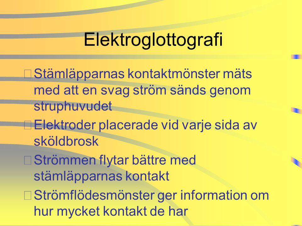 Elektroglottografi •Stämläpparnas kontaktmönster mäts med att en svag ström sänds genom struphuvudet •Elektroder placerade vid varje sida av sköldbros