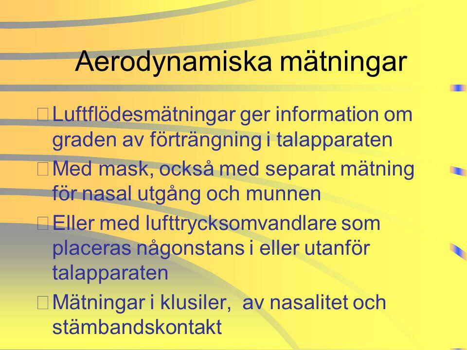 Aerodynamiska mätningar •Luftflödesmätningar ger information om graden av förträngning i talapparaten •Med mask, också med separat mätning för nasal u
