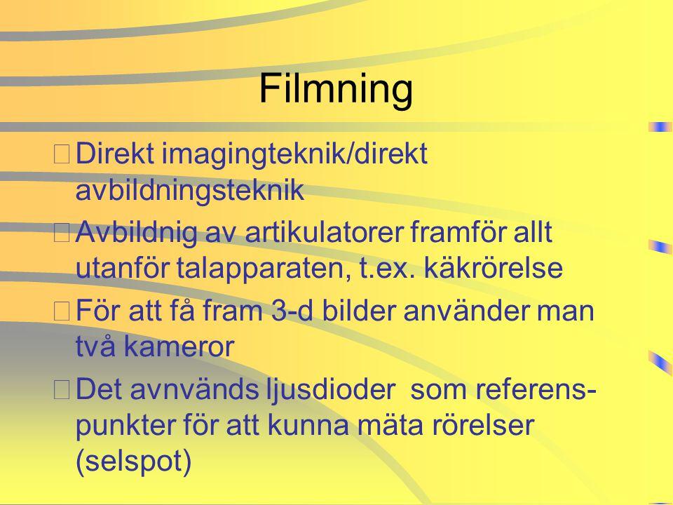 Filmning •Direkt imagingteknik/direkt avbildningsteknik •Avbildnig av artikulatorer framför allt utanför talapparaten, t.ex. käkrörelse •För att få fr