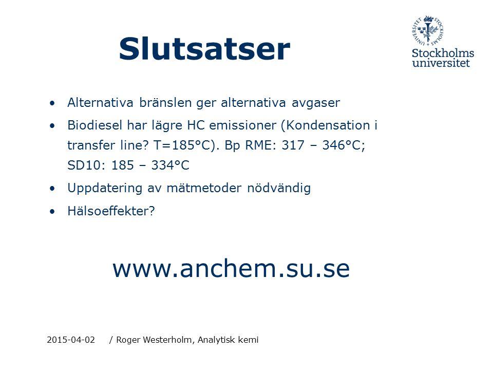 2015-04-02/ Roger Westerholm, Analytisk kemi Slutsatser Alternativa bränslen ger alternativa avgaser Biodiesel har lägre HC emissioner (Kondensation i transfer line.