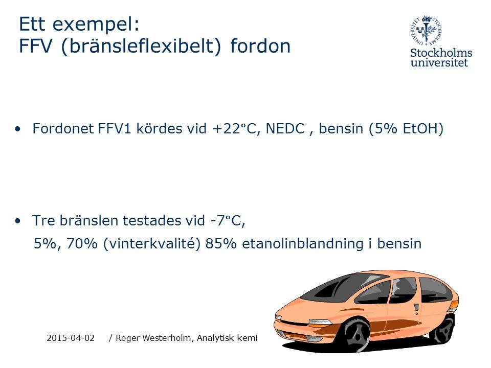 2015-04-02/ Roger Westerholm, Analytisk kemi Ett exempel: FFV (bränsleflexibelt) fordon Fordonet FFV1 kördes vid +22°C, NEDC, bensin (5% EtOH) Tre bränslen testades vid -7°C, 5%, 70% (vinterkvalité) 85% etanolinblandning i bensin