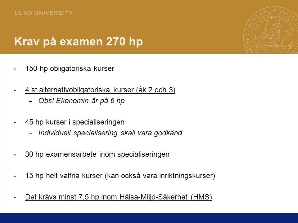 2 L U N D U N I V E R S I T Y Krav på examen 270 hp 150 hp obligatoriska kurser 4 st alternativobligatoriska kurser (åk 2 och 3) – Obs.