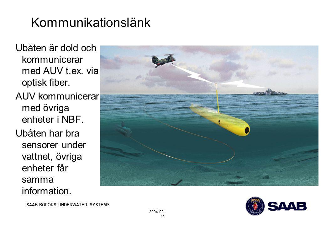SAAB BOFORS UNDERWATER SYSTEMS 2004-02- 11 Kommunikationslänk Ubåten är dold och kommunicerar med AUV t.ex.