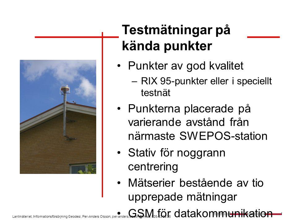 Lantmäteriet, Informationsförsörjning Geodesi, Per-Anders Olsson, per-anders.olsson@lm.se, 026-63 35 36 Punkter av god kvalitet –RIX 95-punkter eller i speciellt testnät Punkterna placerade på varierande avstånd från närmaste SWEPOS-station Stativ för noggrann centrering Mätserier bestående av tio upprepade mätningar GSM för datakommunikation Testmätningar på kända punkter