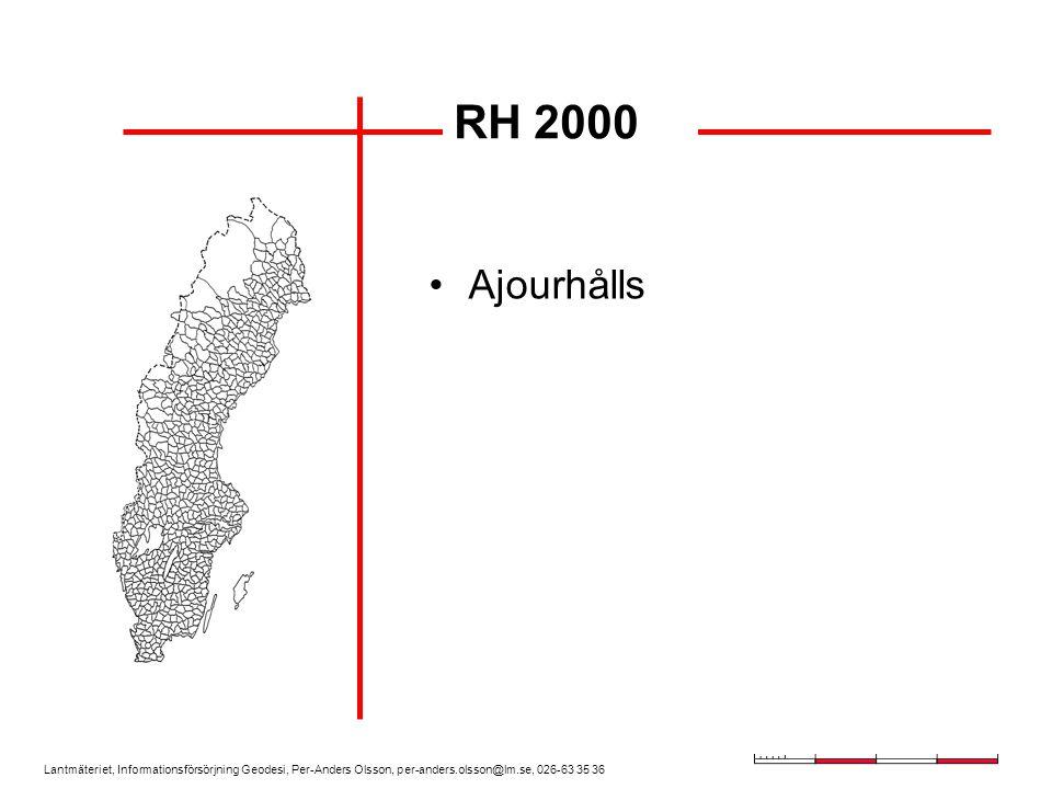 Lantmäteriet, Informationsförsörjning Geodesi, Per-Anders Olsson, per-anders.olsson@lm.se, 026-63 35 36 SWEPOS beräkningstjänst och Nätverks-RTK kan i vissa fall ersätta/komplettera stompunkter Gäller i lägre grad i höjdnäten Noggrannheten (  ) i SWEREF 99 cirka 15 mm och i RH 2000 25-30 mm Guide till RTK-mätning på gång Sammanfattning