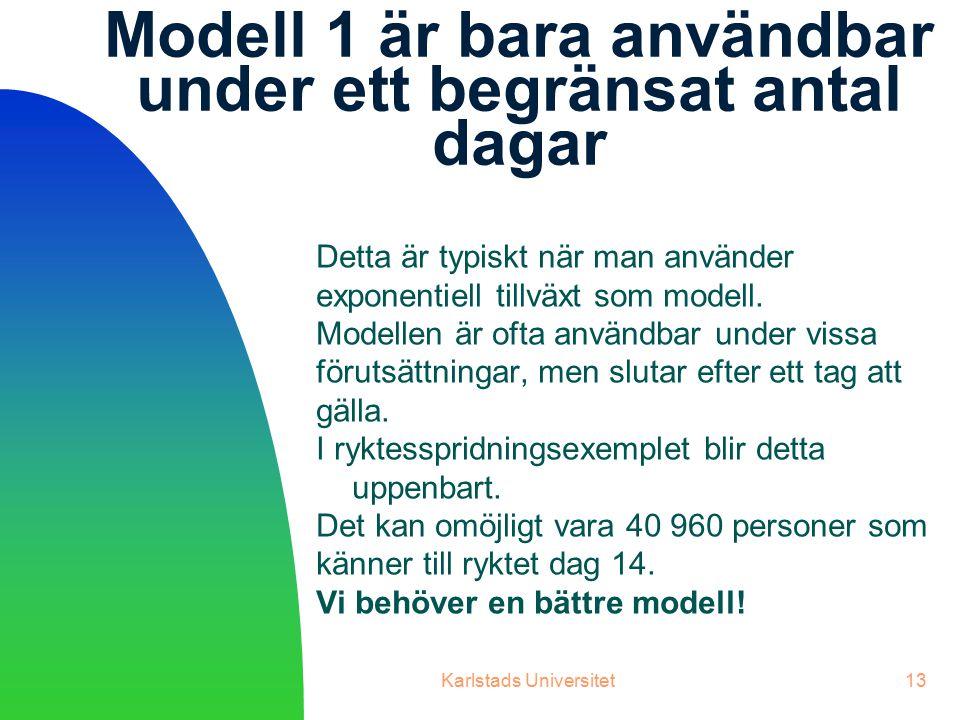 Karlstads Universitet13 Modell 1 är bara användbar under ett begränsat antal dagar Detta är typiskt när man använder exponentiell tillväxt som modell.
