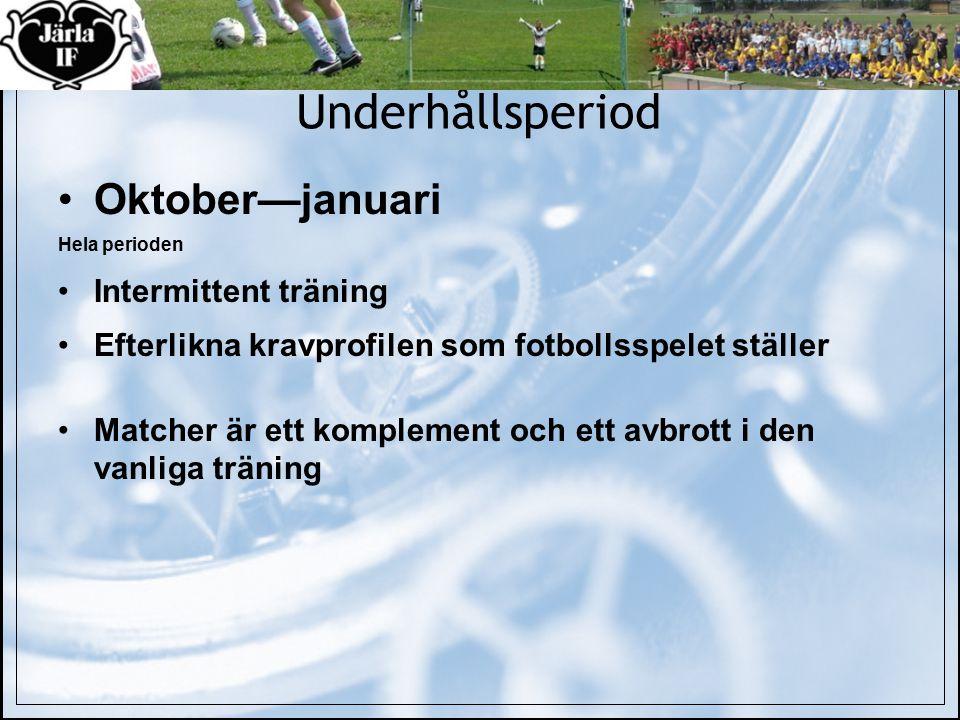 Underhållsperiod Oktober—januari Hela perioden Intermittent träning Efterlikna kravprofilen som fotbollsspelet ställer Matcher är ett komplement och ett avbrott i den vanliga träning