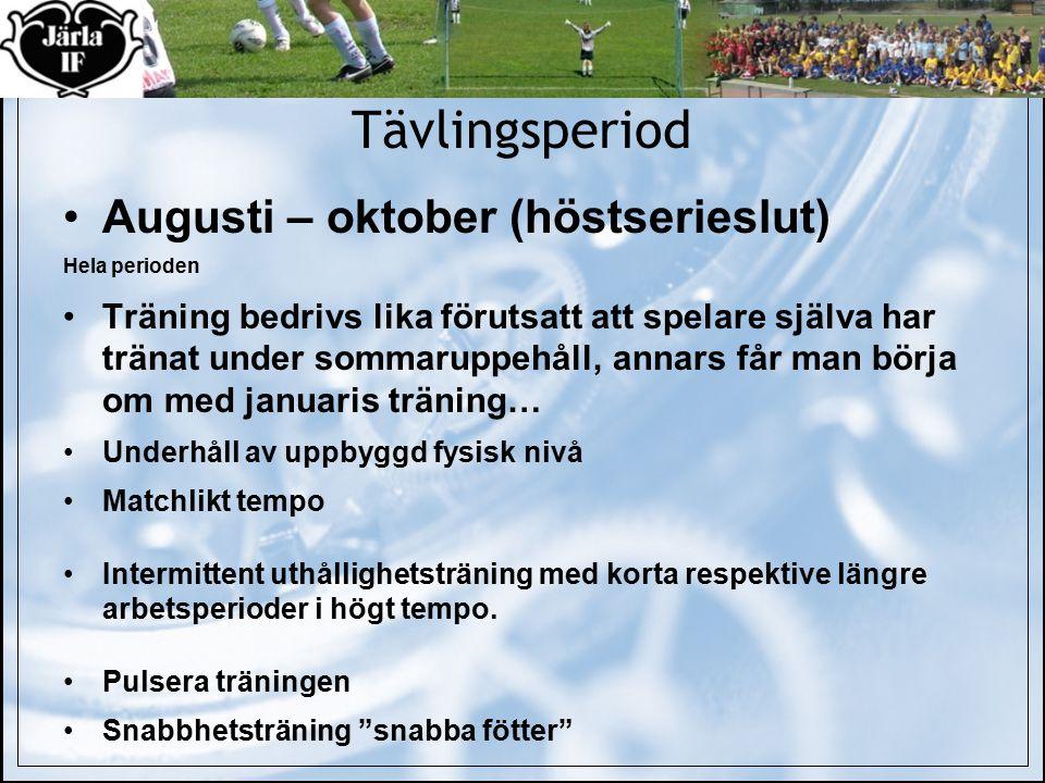 Tävlingsperiod Augusti – oktober (höstserieslut) Hela perioden Träning bedrivs lika förutsatt att spelare själva har tränat under sommaruppehåll, anna