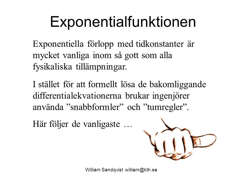 William Sandqvist william@kth.se Exponentialfunktionen Exponentiella förlopp med tidkonstanter är mycket vanliga inom så gott som alla fysikaliska til