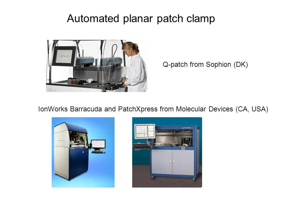 Automated planar patch clamp Q-patch from Sophion (DK) IonWorks Barracuda and PatchXpress from Molecular Devices (CA, USA)
