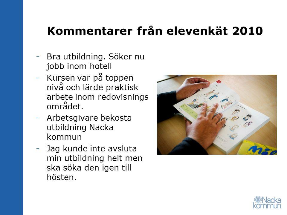 Kommentarer från elevenkät 2010 -Bra utbildning. Söker nu jobb inom hotell -Kursen var på toppen nivå och lärde praktisk arbete inom redovisnings områ
