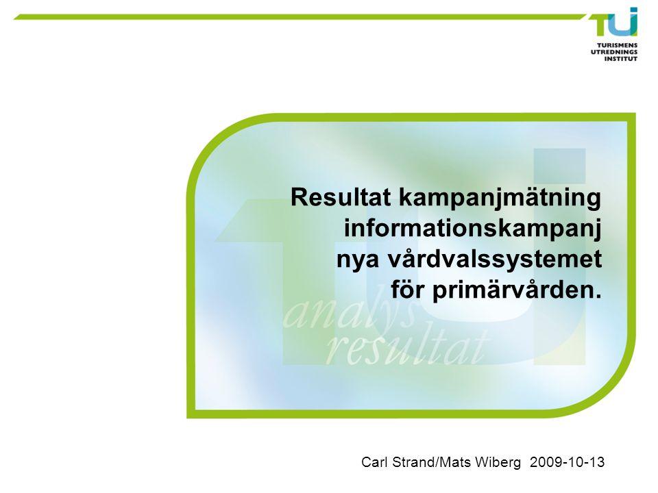 Carl Strand/Mats Wiberg 2009-10-13 Resultat kampanjmätning informationskampanj nya vårdvalssystemet för primärvården.