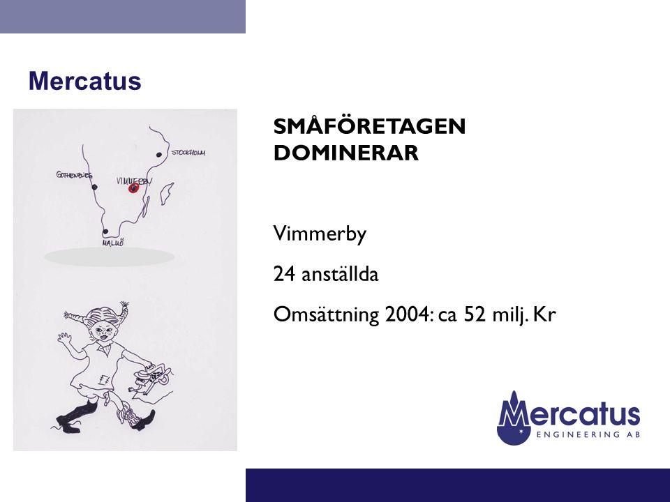 Mercatus SMÅFÖRETAGEN DOMINERAR Vimmerby 24 anställda Omsättning 2004: ca 52 milj. Kr