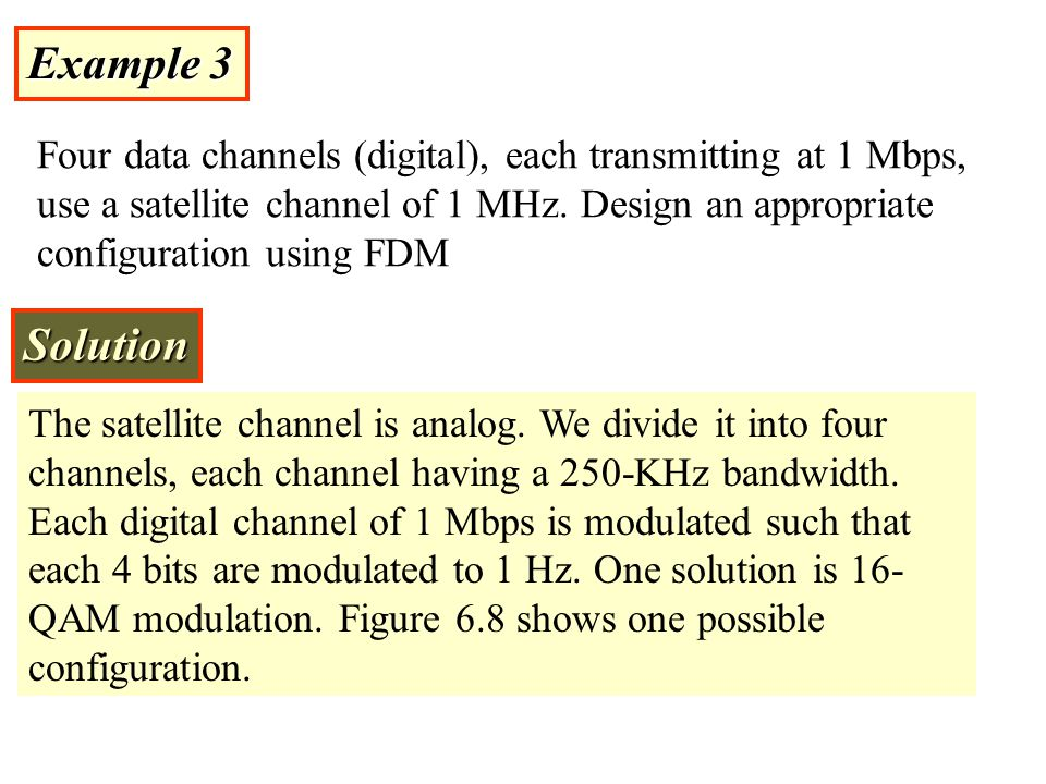 Example 3 Four data channels (digital), each transmitting at 1 Mbps, use a satellite channel of 1 MHz. Design an appropriate configuration using FDM S