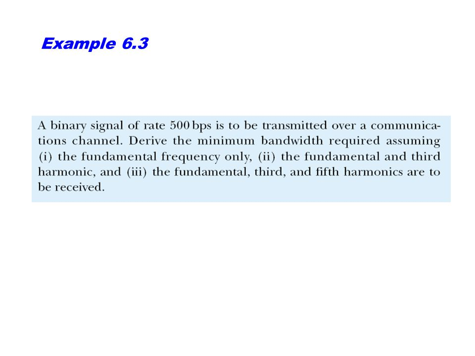 Example 12 Compute the baud rate for a 72,000-bps 64-QAM signal.