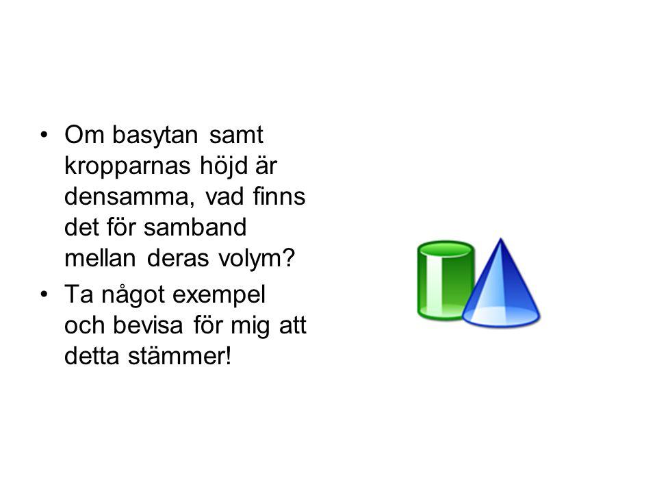 Vad är det för formel som gäller för ett klot? Om radien är 3 cm, hur mycket blir klotets volym?
