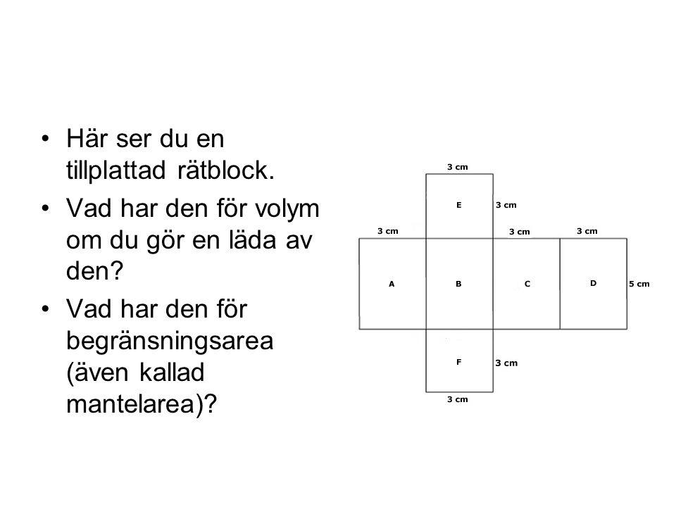 Här ser du en tillplattad rätblock. Vad har den för volym om du gör en läda av den? Vad har den för begränsningsarea (även kallad mantelarea)?