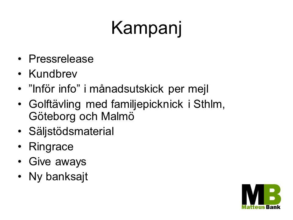 """Kampanj Pressrelease Kundbrev """"Inför info"""" i månadsutskick per mejl Golftävling med familjepicknick i Sthlm, Göteborg och Malmö Säljstödsmaterial Ring"""