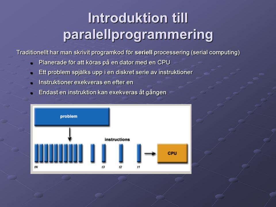 Introduktion till paralellprogrammering Traditionellt har man skrivit programkod för seriell processering (serial computing) Planerade för att köras på en dator med en CPU Planerade för att köras på en dator med en CPU Ett problem spjälks upp i en diskret serie av instruktioner Ett problem spjälks upp i en diskret serie av instruktioner Instruktioner exekveras en efter en Instruktioner exekveras en efter en Endast en instruktion kan exekveras åt gången Endast en instruktion kan exekveras åt gången