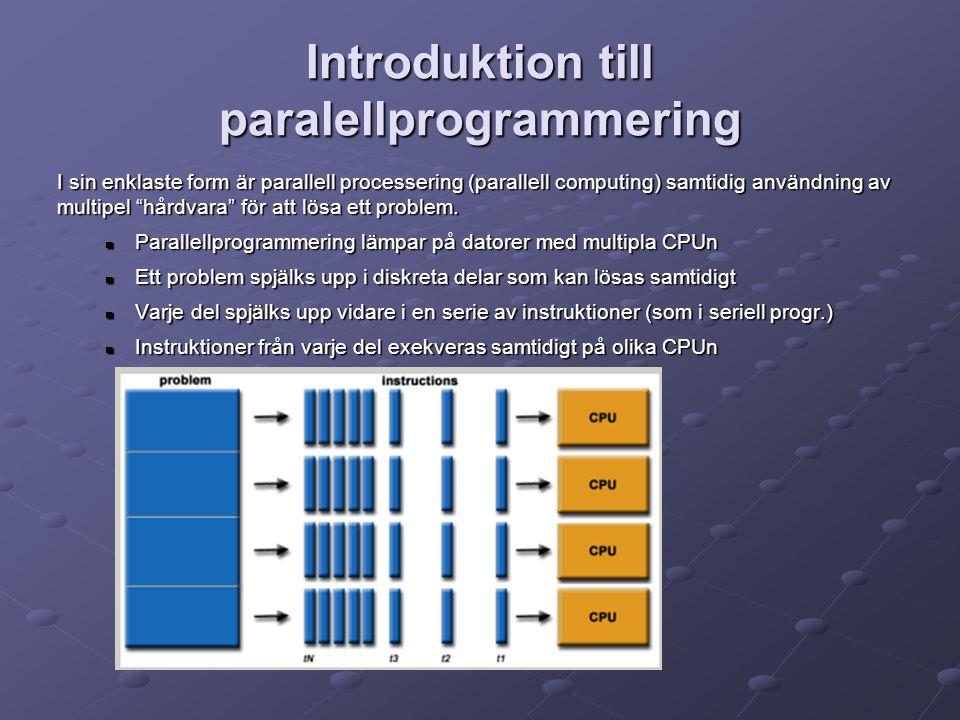Introduktion till paralellprogrammering I sin enklaste form är parallell processering (parallell computing) samtidig användning av multipel hårdvara för att lösa ett problem.