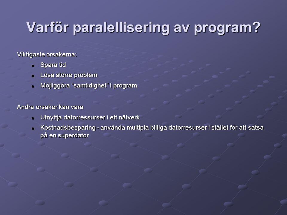Varför paralellisering av program.