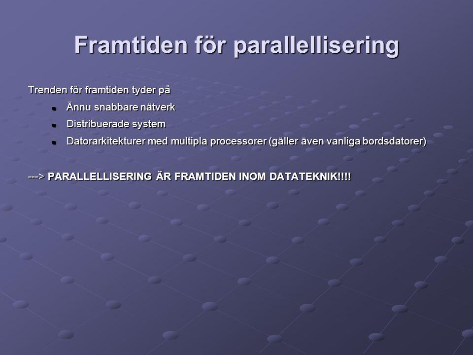 Framtiden för parallellisering Trenden för framtiden tyder på Ännu snabbare nätverk Ännu snabbare nätverk Distribuerade system Distribuerade system Datorarkitekturer med multipla processorer (gäller även vanliga bordsdatorer) Datorarkitekturer med multipla processorer (gäller även vanliga bordsdatorer) ---> PARALLELLISERING ÄR FRAMTIDEN INOM DATATEKNIK!!!!
