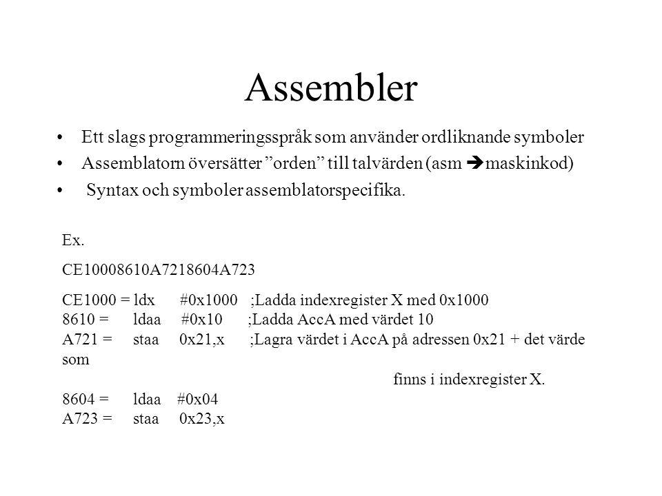 Syntax LABELOPKODOPERAND(ER);KOMMENTAR Ex STARTLDAA#0x0F;Start av program STAA0xFF ADDA0x0F BRASTART;Hoppar till START Label: Förbättrar läsbarheten, Ger oss möjlighet att hänvisa till olika delar av koden.