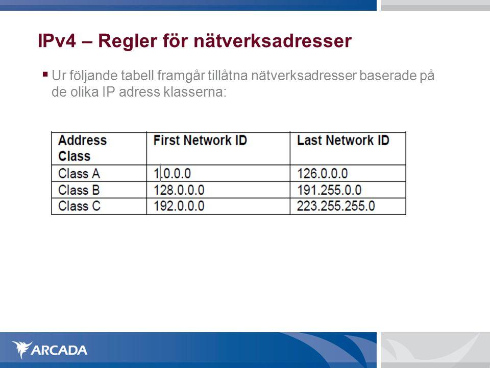 IPv4 – Regler för nätverksadresser  Ur följande tabell framgår tillåtna nätverksadresser baserade på de olika IP adress klasserna: