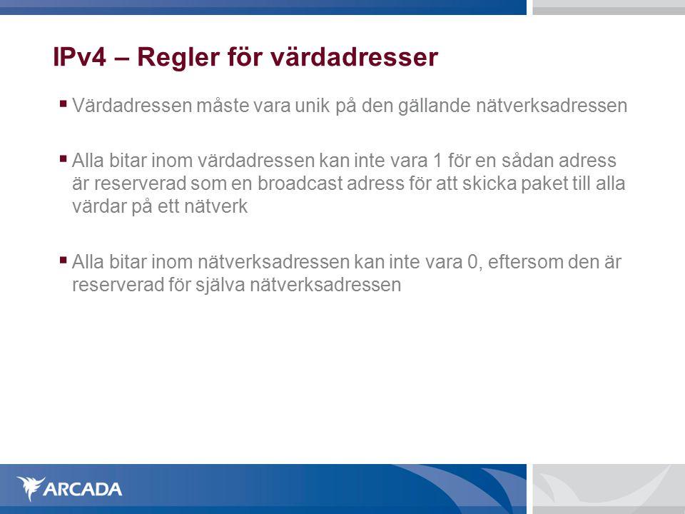 IPv4 – Regler för värdadresser  Värdadressen måste vara unik på den gällande nätverksadressen  Alla bitar inom värdadressen kan inte vara 1 för en s