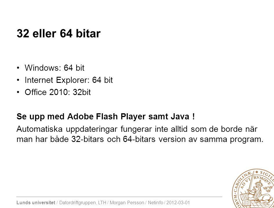 Lunds universitet / Datordriftgruppen, LTH / Morgan Persson / Netinfo / 2012-03-01 Windows och IPv6 Teredo (2001:0000::/32) I första hand hemma Ska fungera genom routrar med NAT Trafiken skickas som vanliga (ipv4) udp-paket 6to4 (2002::/16) I första hand datorer med publik ipadress Trafiken skickas som ip-protokoll 41