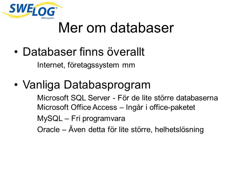 Mer om databaser Databaser finns överallt Internet, företagssystem mm Vanliga Databasprogram Microsoft SQL Server - För de lite större databaserna Microsoft Office Access – Ingår i office-paketet MySQL – Fri programvara Oracle – Även detta för lite större, helhetslösning