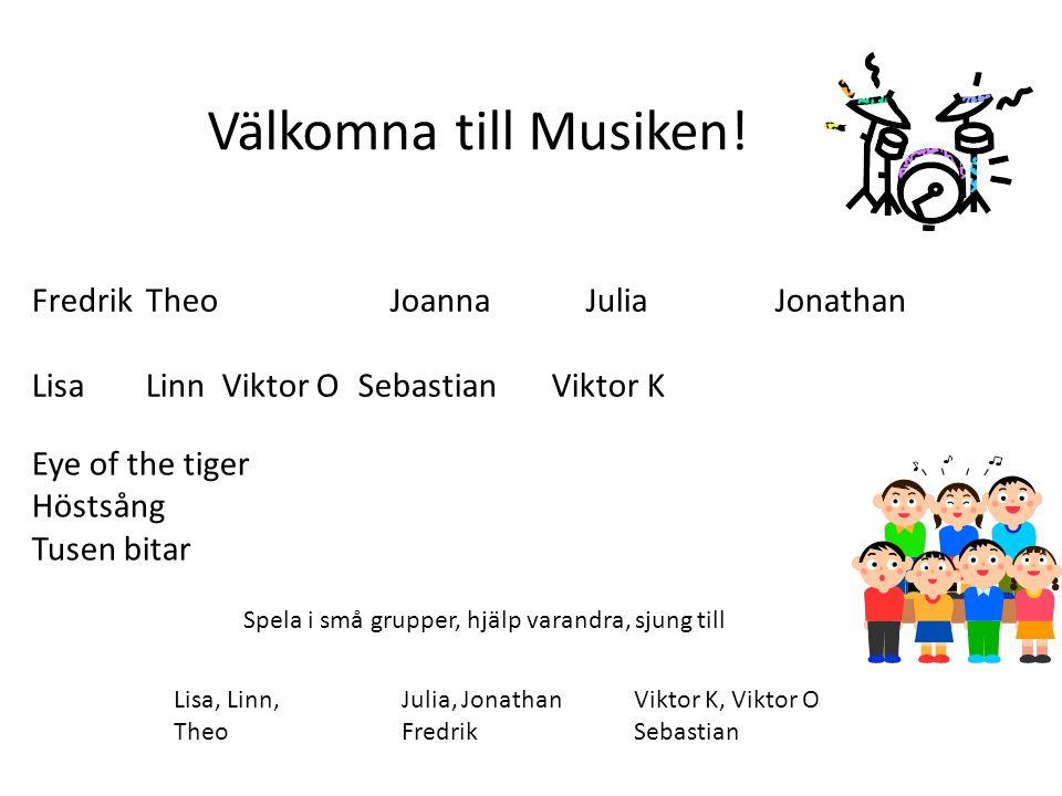 Aslihan InaJonaKwaku ErikFilip Huma Hedvig Krister Lucas Hampus NiklasOscar Välkomna till Musiken.