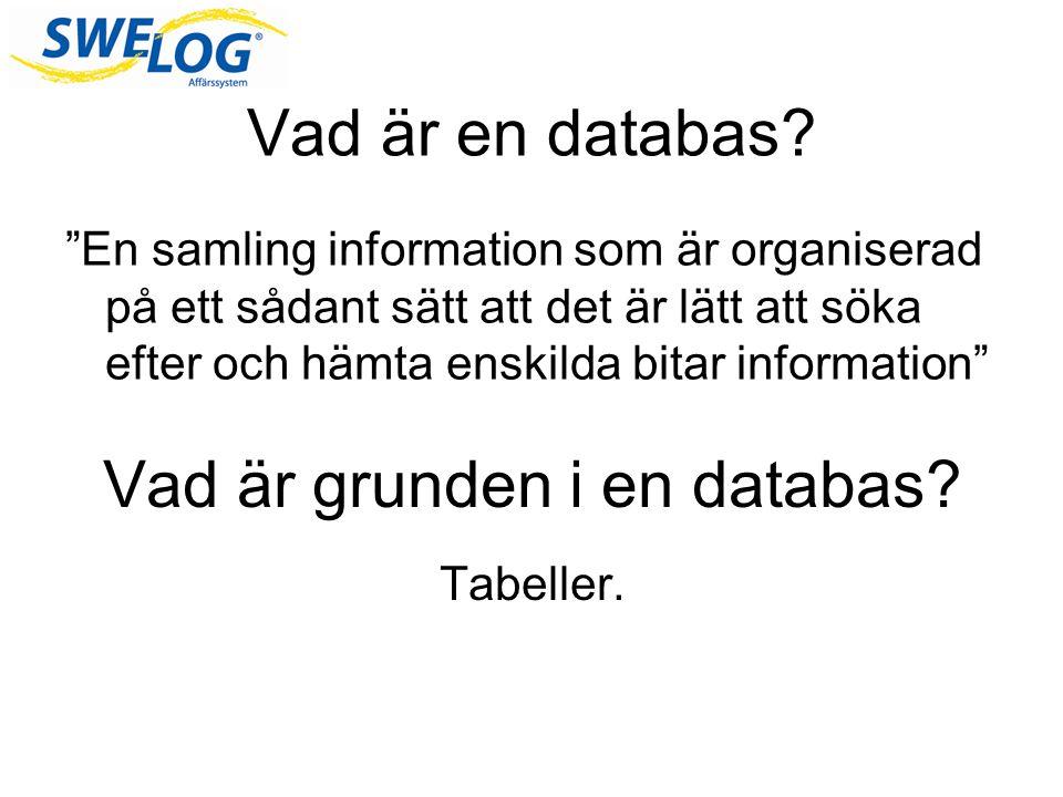 Varför använda databas -Hantera stora datamängder -Enkelt att lägga till och uppdatera information -Inga dubletter Ex SWELOG, Kunder – offert,order,följesedel,faktura