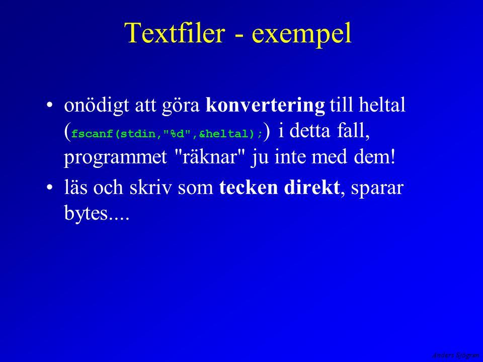 Anders Sjögren Textfiler - exempel onödigt att göra konvertering till heltal ( fscanf(stdin, %d ,&heltal); ) i detta fall, programmet räknar ju inte med dem.