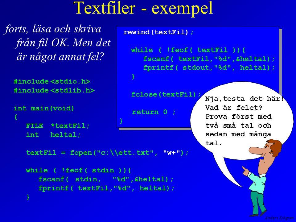Anders Sjögren Textfiler - exempel forts, läsa och skriva från fil OK. Men det är något annat fel? #include int main(void) { FILE*textFil; intheltal;