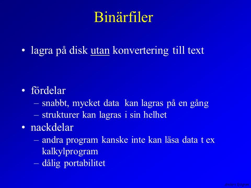 Anders Sjögren Binärfiler lagra på disk utan konvertering till text fördelar –snabbt, mycket data kan lagras på en gång –strukturer kan lagras i sin h
