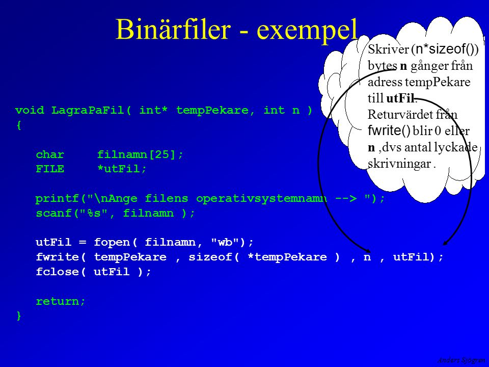 Anders Sjögren void LagraPaFil( int* tempPekare, int n ) { charfilnamn[25]; FILE*utFil; printf(