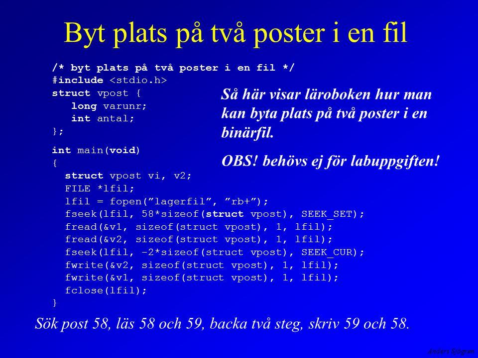 Anders Sjögren Byt plats på två poster i en fil Så här visar läroboken hur man kan byta plats på två poster i en binärfil. OBS! behövs ej för labuppgi